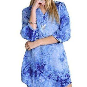 NWT Umgee Bohemian Tie Dye Shirt Dress Tunic